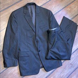 Michael Michael Kors Gray Striped Suit 44R Wool
